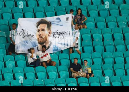 Salvador, Brazil. 15th June, 2019. Argentinian supporters before the Copa America 2019 Group B soccer match between Argentina and Colombia, at Arena Fonte Nova Stadium in Salvador, Brazil, 15 June 2019. Credit: Joedson Alves/EFE/Alamy Live News - Stock Photo