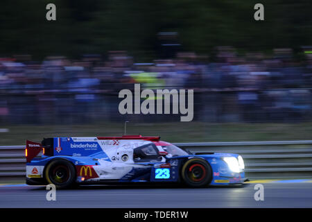 Le Mans, Sarthe, France. 15th June, 2019. Panis Barthez Competition LIGIER JSP217 Gibson rider WILL STEVENS (GBR) in action during the 87th edition of the 24 hours of Le Mans the last round of the FIA World Endurance Championship at the Sarthe circuit at Le Mans - France Credit: Pierre Stevenin/ZUMA Wire/Alamy Live News - Stock Photo