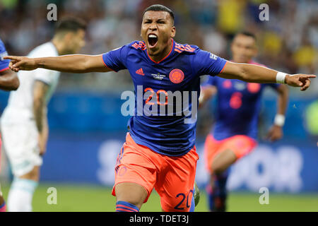 Salvador, Brazil. 15th June, 2019. Colombia's Roger Martinez(Front) celebrates a goal during the Copa America 2019 Group B match between Argentina and Colombia in Salvador, Brazil, June 15, 2019. Colombia won 2-0. Credit: Francisco Canedo/Xinhua/Alamy Live News - Stock Photo