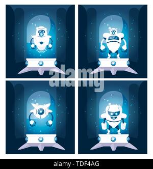 Set of robots design, Robotic tecnology futuristic toy machine cyborg science and android theme Vector illustration - Stock Photo