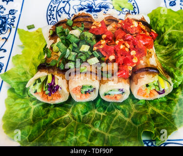 Spring rolls on a blue-and-white porcelain dinner plate. - Stock Photo