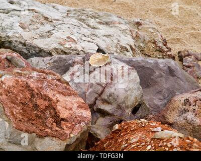 Macro of big red and orange rocks - Stock Photo