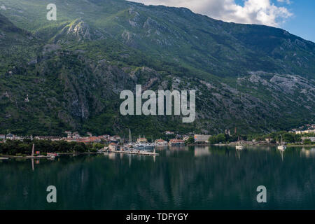 Approaching Kotor on the Bay or Boka in Montenegro - Stock Photo
