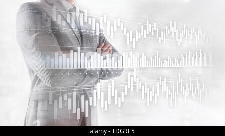 Candles chart diagram graph stock trading investment business finance concept mixed media double exposure virtual screen - Stock Photo