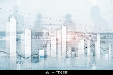 Graph on rows of coins. Financial stock trading graph chart diagram. Exchange and Trading concept. - Stock Photo