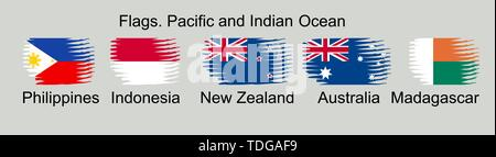 Flags of Oceania countries in original colors. Philippines, Indonesia, New Zealand, Australia, Madagascar - Stock Photo