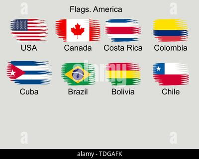 American countries flag set North, Central and South America - Stock Photo