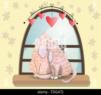 Two cats with heart shaped tails sitting on a windowsill in a room, cuddling each other and looking out a classic arched window in the daytime, celebr - Stock Photo