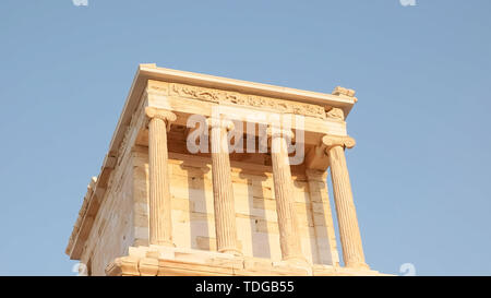 low angle shot of the temple of athena nike in athens, greece - Stock Photo