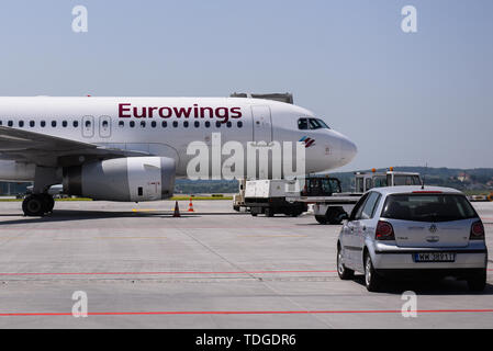 EuroWings Airbus A319 aircraft seen at the Krakow John Paul II International Airport. - Stock Photo