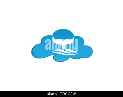 Whale diving deep in the sea and show Tail up for Logo design illustration i a cloud shape icon - Stock Photo