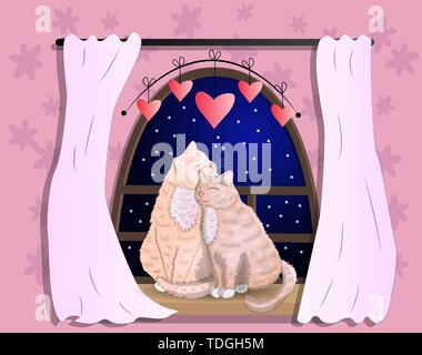 Two cats with heart shaped tails sitting on a windowsill in a room, cuddling each other and looking out a classic arched window, celebrate Valentines  - Stock Photo