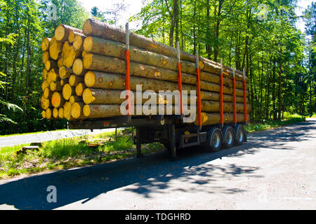 Fully loaded truck trailer with wooden pallets without truck in a parking lot - Stock Photo