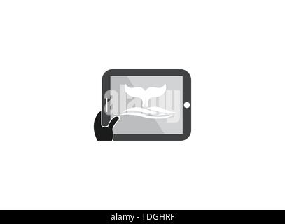 Whale diving deep in the sea and show Tail up for Logo design illustration i a tablet shape pad icon - Stock Photo