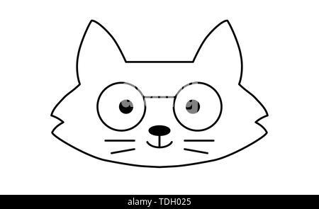 Cute cartoon kitten icons set - Stock Photo