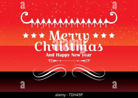 Happy Merry Christmas and Happy New Year Vector Design on a Winter Snow Red Background. - Stock Photo