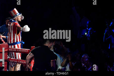 Las Vegas, USA. 15th June, 2019. UK's Boxer Tyson Fury makes his grand entrance to fight Tom Schwarz at MGM Grand Garden Arena on June 15, 2019 in Las Vegas, Nevada. Credit: ZUMA Press, Inc./Alamy Live News - Stock Photo