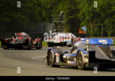 Le Mans, Sarthe, France. 16th June, 2019. Idec Sport Oreca 07 Gibson rider PAUL LAFARGUE (FRA) in action during the 87th edition of the 24 hours of Le Mans the last round of the FIA World Endurance Championship at the Sarthe circuit at Le Mans - France Credit: Pierre Stevenin/ZUMA Wire/Alamy Live News - Stock Photo