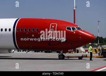 Krakow, Poland. 13th June, 2019. Norwegian Air Boeing 737 Max 8 Aircraft seen at the Krakow John Paul II International Airport. Credit: Omar Marques/SOPA Images/ZUMA Wire/Alamy Live News - Stock Photo
