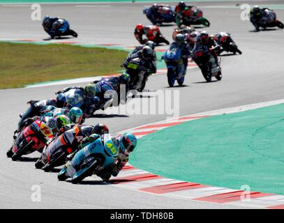 Barcelona, Spain. 16th June, 2019.   Moto3 riders in action during the first lap of the Motorcycling Grand Prix of Catalunya at the Circuit de Barcelona-Catalunya in Montmelo, near Barcelona, Spain, 16 June 2019. Credit: EFE News Agency/Alamy Live News - Stock Photo