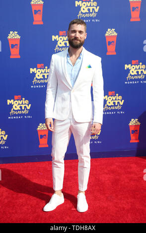 SANTA MONICA, CA - JUNE15: Dustin Milligan, at the 2019 MTV Movie & TV Awards sponsored by M&M's, MTN DEW, Taco Bell®, and truth at Barker Hangar in Santa Monica, California on June 15, 2019. Credit: Faye Sadou/MediaPunch - Stock Photo