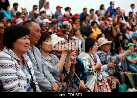 Irkutsk, Russia. 15th June, 2019. IRKUTSK REGION, RUSSIA - JUNE 15, 2019: Participants in the 7th Yordynian Games - Eurasian Peoples' Games, an ethnic and cultural festival of the local indigenous peoples, held at the foot of the sacred Mount Yord near Lake Baikal. Kirill Shipitsin/TASS Credit: ITAR-TASS News Agency/Alamy Live News - Stock Photo