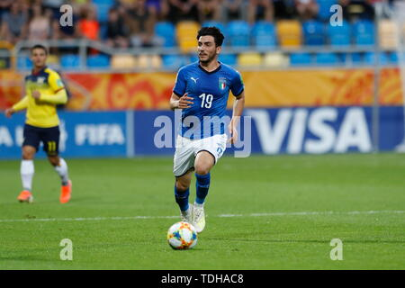 Gdynia, Poland. 14th June, 2019. Roberto Alberico (ITA) Football/Soccer : FIFA U-20 World Cup Poland 2019 match for 3rd place between Italy 0-1 Ecuador at the Gdynia Stadium in Gdynia, Poland . Credit: Mutsu KAWAMORI/AFLO/Alamy Live News - Stock Photo