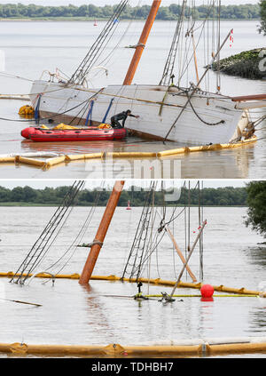 Stadersand, Germany. 16th June, 2019. The picture combo shows employees of a Spanish company preparing with divers the salvage of the sunken historic sailing ship 'No 5 Elbe' in the harbour of Stadersand (at low tide, above) and the same ship at high tide, few hours later (below). The historic sailing ship, which has only recently been extensively renovated, collided with a container ship on the Elbe and sank. Credit: Bodo Marks/dpa/Alamy Live News - Stock Photo
