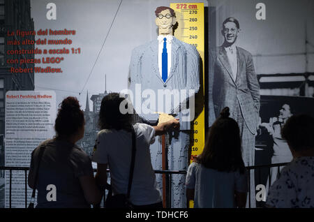 Malaga, Spain. 16th June, 2019. A mockup of the most tall man displayed during the exhibition. The LEGO exhibition is a temporary exhibition, the most biggest of Europe about figures of LEGO, showing different mockups mounted with more than 5 million of LEGO pieces to large scale such as Titanic ship, replicas of basketball players, the human body, characters of the film Star Wars, MARVEL and others. Credit: SOPA Images Limited/Alamy Live News - Stock Photo