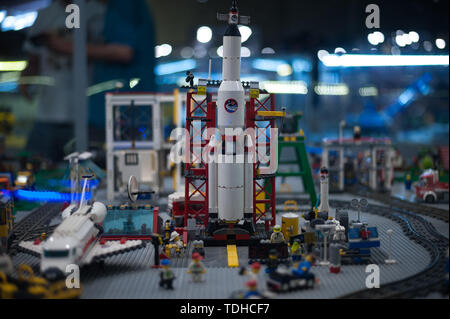 Malaga, Spain. 16th June, 2019. A mockup of a spacial station displayed inside a glass cabinet during the exhibition. The LEGO exhibition is a temporary exhibition, the most biggest of Europe about figures of LEGO, showing different mockups mounted with more than 5 million of LEGO pieces to large scale such as Titanic ship, replicas of basketball players, the human body, characters of the film Star Wars, MARVEL and others. Credit: SOPA Images Limited/Alamy Live News - Stock Photo