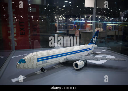 Malaga, Spain. 16th June, 2019. A mockups of a plane displayed inside a glass cabinet during the exhibition. The LEGO exhibition is a temporary exhibition, the most biggest of Europe about figures of LEGO, showing different mockups mounted with more than 5 million of LEGO pieces to large scale such as Titanic ship, replicas of basketball players, the human body, characters of the film Star Wars, MARVEL and others. Credit: SOPA Images Limited/Alamy Live News - Stock Photo