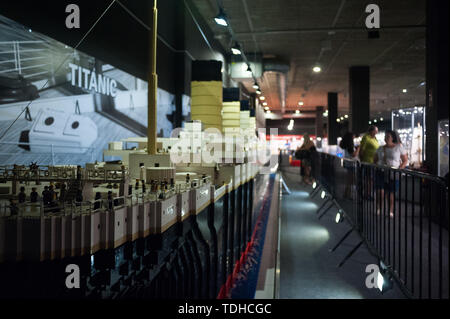 Malaga, Spain. 16th June, 2019. A large mockup of 'Titanic' ship displayed inside a glass cabinet during the exhibition. The LEGO exhibition is a temporary exhibition, the most biggest of Europe about figures of LEGO, showing different mockups mounted with more than 5 million of LEGO pieces to large scale such as Titanic ship, replicas of basketball players, the human body, characters of the film Star Wars, MARVEL and others. Credit: SOPA Images Limited/Alamy Live News - Stock Photo