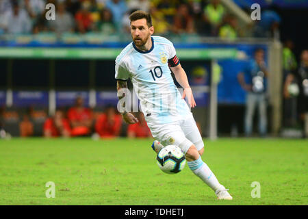 15th June 2019, Arena Fonte Nova, Salvador, Bahia, Brazil; Copa America International Football tournament, Argentina versus Colombia;  Lionel Messi of Argentina - Stock Photo