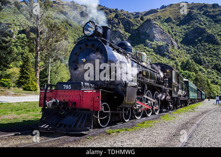 The Vintage steam engine The Kingston Flyer with head of steam at Kingston, New Zealand on 13 March 2012 - Stock Photo
