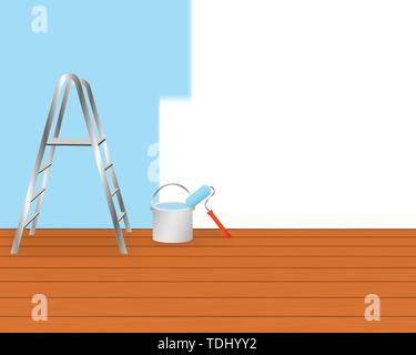 Home renovation concept with painting equipment. - Stock Photo