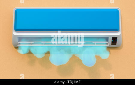 Air conditioner blowing cold air in the room. 3D rendering - Stock Photo