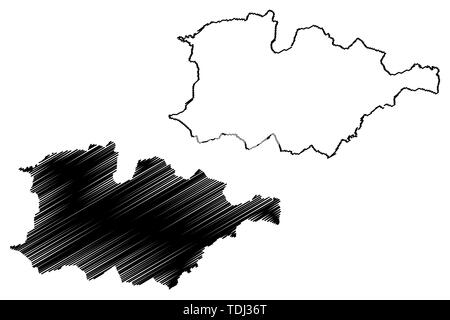 Hauts-Bassins Region (Regions of Burkina Faso, Burkina Faso) map vector illustration, scribble sketch Hauts Bassins map - Stock Photo
