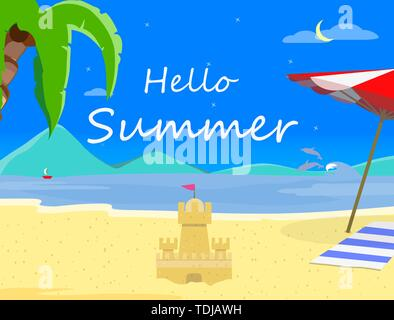 Beach Background with Hello Summer Typography and Sand Castle, Night Time Landscape of Exotic Seaside, Asian Thailand Resort Seascape Sandy Shore Post - Stock Photo
