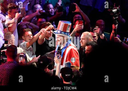 LAS VEGAS, NEVADA - JUNE 15:  Boxer Tyson Fury makes his grand entrance to fight Tom Schwarz at MGM Grand Garden Arena on June 15, 2019 in Las Vegas, Nevada. MB Media - Stock Photo