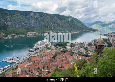 View from above Old Town of Kotor in Montenegro - Stock Photo