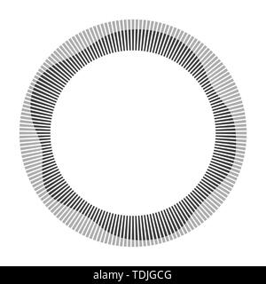 Circular frame. Round shape. Radial black concentric particles. Gray ring of short thin rays with wavy silhouette isolated white background. Sound wav - Stock Photo