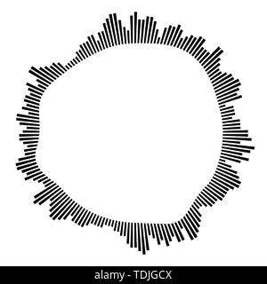 Black circular frame on white background. Round shape. Radial black concentric particles. Black ring of short thin rays. Sound wave. Sun ray or star b - Stock Photo