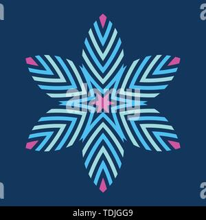 Abstract colorful symmetric symbol isolated on dark background. Stylized flower with striped petals. Logo. Design element. Star, snowflake. Geometric  - Stock Photo