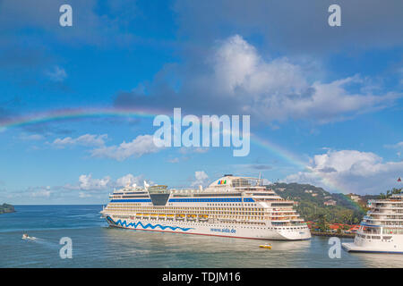 CASTRIES, ST LUCIA - November 21, 2016: AIDA Cruises is an American-British-owned German cruise line based in Rostock, Germany. The company entered th - Stock Photo