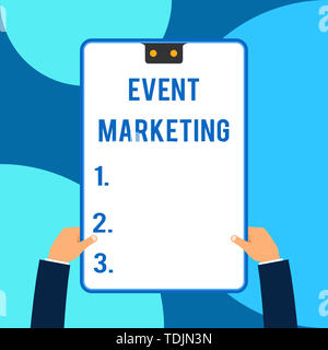 Conceptual hand writing showing Event Marketing. Concept meaning describes process of developing display to promote product Male hands holding electro - Stock Photo