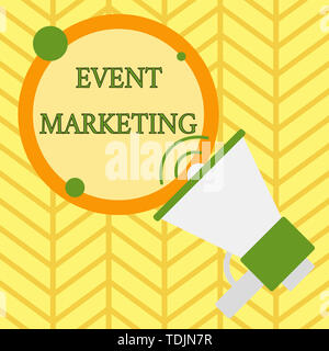 Handwriting text writing Event Marketing. Conceptual photo describes process of developing display to promote product SpeakingTrumpet Empty Round Stro - Stock Photo