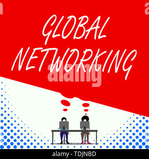 Text sign showing Global Networking. Business photo text Communication network which spans the entire Earth WAN Two men sitting behind desk each one l - Stock Photo