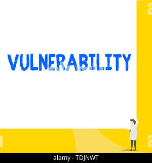 Writing note showing Vulnerability. Business concept for State of being exposed to the possibility of being attacked Young woman holding two hands rig - Stock Photo