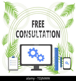 Handwriting text writing Free Consultation. Conceptual photo Giving medical and legal discussions without pay Business Concept PC Monitor Mobile Devic - Stock Photo