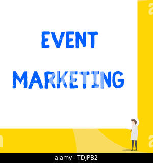 Writing note showing Event Marketing. Business concept for describes process of developing display to promote product Young woman holding two hands ri - Stock Photo